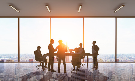 formal clothing: Six men in formal clothing standing and sitting around large table discuss work stuff in modern office. Concept of conversation and finding right way. 3d rendering. Toned image. Double exposure