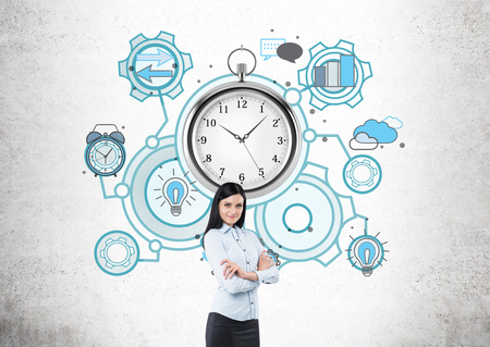 project deadline: Business lady standing in front of concrete wall with giant stopwatch and multiple abstract sketches around it. She is smiling and has hands folded. Concept of time management and project deadline.
