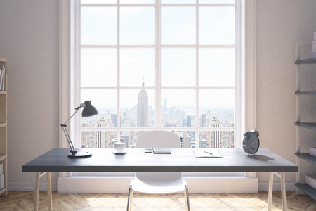 study table: Front view of study room interior in New York City apartment. Wooden floor, white walls, big window. Large writing table with desk lamp. Concept of learning. 3d rendering.