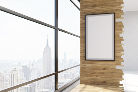 aesthetic: Room interior. Big panoramic window with New York view and vertical framed poster on wooden wall. Concept of aesthetic home. 3d rendering. Mock up.