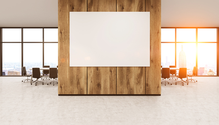 whiteboard for office wall. Modern Office Interior With Whiteboard On Wooden Wall. New York City Seen  Through Windows. For Wall