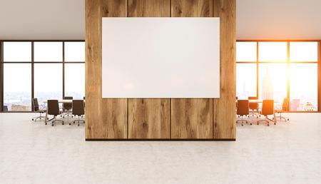 original idea: Modern office interior with whiteboard on wooden wall. New York City seen through windows. Bright sunlight. Concrete floor. Concept of original idea development. 3d rendering. Mock up. Toned image.