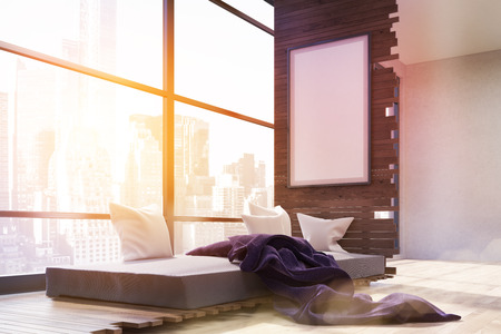 toning: Sunlit bedroom interior in big city. Panoramic window. Poster on wall. Gray bed with pillows and purple blanket. Concept of cozy bedroom in megapolis. 3d rendering. Mock up. Toned image.