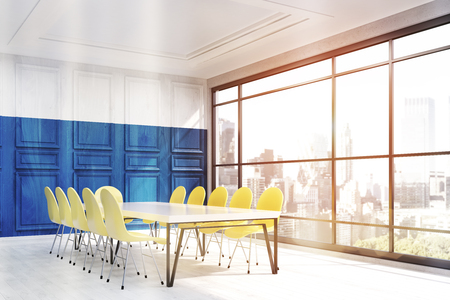 constructive: New York office interior. Blue and white wooden wall. Room corner. Table surrounded by yellow chairs. City panorama in window. Concept of constructive work. 3d rendering.