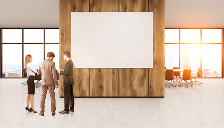 toned: Group of colleagues in suits standing in New York office in front of wooden wall with large banner discussing business issues. Concept of teamwork and brainstorming. 3d rendering. Mock up. Toned image
