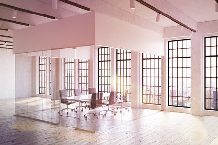 large office: Large office interior in contemporary New York. Transparent room in center. Big table surrounded by chairs. Windows and ceiling lights. Concept of corporate work. Mock up. 3d rendering. Toned image.