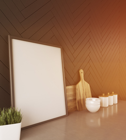 framed picture: Kitchen counter in modern style with framed picture, jars, bowls and cutting boards on it. Concept of making healthy food for entire family. 3d rendering. Mock up. Toned image. Stock Photo