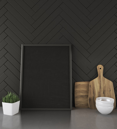 framed picture: Worktop of kitchen counter with framed picture, potted plant, cutting board and bowls. Concept of home dinner preparation. 3d rendering. Mock up.
