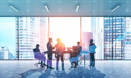 double exposure: Group of businessmen discussing work issues in office with panoramic windows in big city of Singapore. Concept of teamwork and brainstorming. 3d rendering. Toned image. Double exposure.