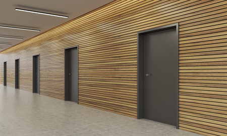 commercial building: Several dark doors in modern office building corridor. Lamps on ceiling. Wooden walls. Concept of finding the right way in business. 3d rendering.