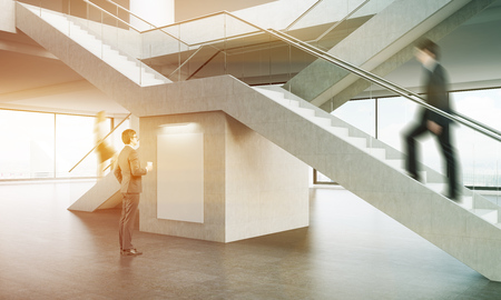 side effect: Office interior. Two businesspeople climbing stairs while the third is looking at large vertical poster on wall between them. 3d rendering. Mock up. Toned image.