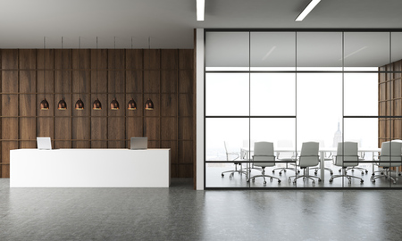 negotiations: Reception in modern office interior in New York. Large table with laptops, several lamps above it. Conference room by side. Wooden wall. Concept of business negotiations. 3d rendering.
