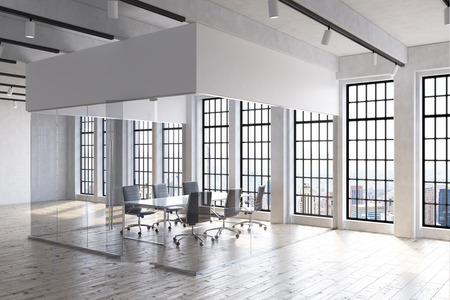 talk big: Empty office interior in big city. Transparent walls. Big windows. Conference room. Concept of negotiation and business talk. 3d rendering.