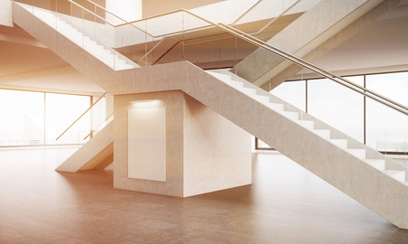 staircases: Office interior. View of crossed staircases. Large poster under them. Panoramic windows. Concept of climbing to top. 3d rendering. Mock up. Toned image.