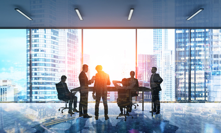 Besuited men discussing work agenda in modern city office with panoramic window. Concept of business development. 3d rendering. Toned image. Double exposure.