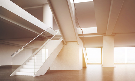 achieving: Office interior. Stairs going up to second floor. Broad columns. Concept of challenging task and achieving top. 3d rendering. Mock up. Toned image.