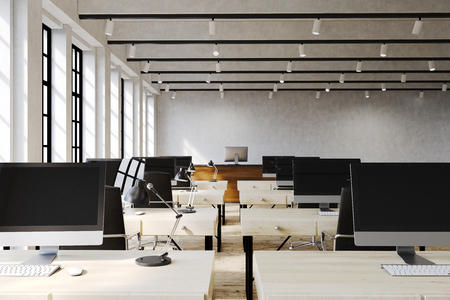 large office: Large office room with lots of computers on wooden desks. Concept of teamwork. 3d rendering. Mock up