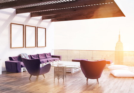 balcony view: View of balcony with purple armchairs, sofa, glass table and pillows on wooden floor. Concept of luxury apartment. 3d rendering. Mock up. Toned image. Stock Photo