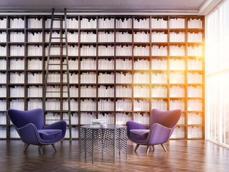 armchairs: House library with tall bookshelves and ladder. Two purple armchairs. Coffee table with books. Concept of good reading and studying. 3d rendering. Toned image Stock Photo