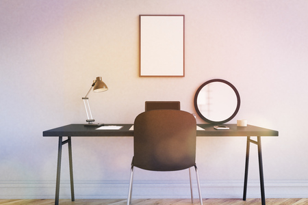 mirror image: Workplace in modern home office. Table and chair near white wall. Mirror, laptop and lamp on desk. Poster on wall. 3d rendering. Mock up. Toned image Stock Photo