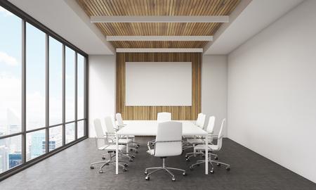 Vergaderzaal in moderne kantoor. Whiteboard, groot raam, tafel en lederen stoelen. Concept van het bedrijfsleven praten. 3D-rendering. Mock-up. Stockfoto