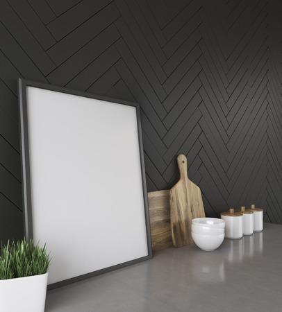 Kuchentheke Mit Schwarzen Wand Foto Schneidebretter Glaser Und