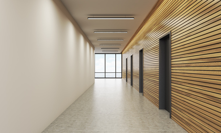 flooring: Office lobby interior with white and wooden walls. Concept of office building. 3d rendering. Mock up