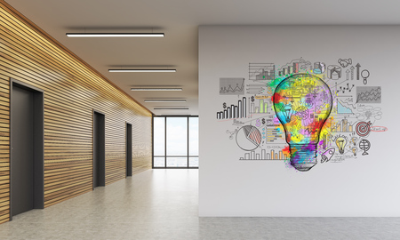 Office lobby interior with colorful light bulb poster on wall. Concept of creativity and search for new ideas. 3d rendering.