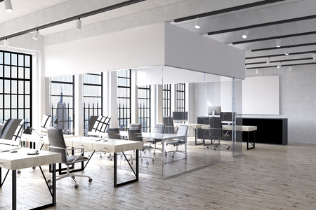 Office interior in New York with desks, computers, transparent room in center and big poster on wall. Concept of corporate work. 3d rendering. Mock up Stock Photo