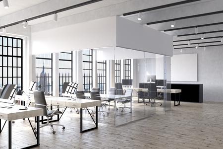 Bureau intérieur à New York avec bureaux, ordinateurs, salle transparente au centre et grande affiche sur le mur. Concept de travail d'entreprise. Rendu 3D Maquette