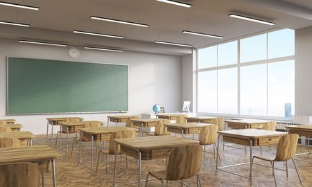 college classroom: College classroom interior with wooden furniture. Big window. Back to school. 3d rendering. Mock up.