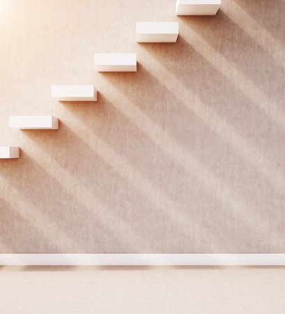 concrete stairs: Closeup of concrete stairs built in wall with light and shadows. Concept of road to success. 3d rendering. Mock up.
