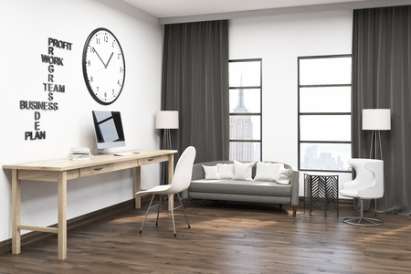 spacious: Spacious home office with huge clock on white wall. Comfortable sofa under windows with gray curtains. Computer on desk. Concept of efficient working process. 3d rendering. Mock up