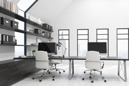 comfortable: New York city office with workstations on desks, white armchairs and boxes and binders on black shelves. Concept of comfortable workplace. 3d rendering. Mock up.