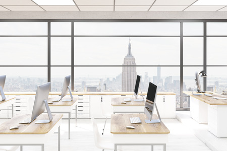 Office computer lab interior. Computers on desks. New York City in panoramic window. Back to school. Concept of IT corporation. 3d rendering.