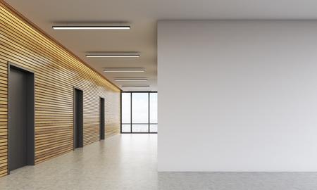 オフィスのロビーは、木製の壁と大きな空白間します。ビジネスの構築のコンセプトです。3 d レンダリング。モックアップします。
