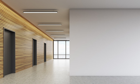 Office lobby interior with wooden walls and large white space. Concept of business building. 3d rendering. Mock up Banque d'images