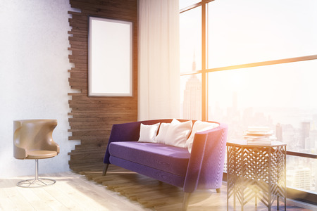 accommodation: View of living room in modern New York. Purple sofa in center, coffee table and armchair on floor. Large window. Poster on wooden wall. Concept of cozy accommodation. 3d rendering. Mock up. Toned image Stock Photo