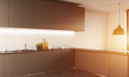 dinners: Modern kitchen counter in apartment. Tap, plates, mug and jars on it. Big ceiling lamp. Bright light. Concept of family dinners and homemade food. 3d rendering. Toned image.