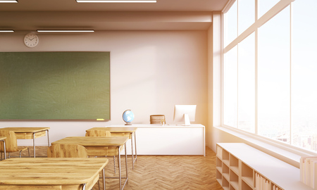 school classroom: Classroom interior with shelves, desks, chalkboard and teachers table. Concept of school system. 3d rendering. Mock up. Toned image