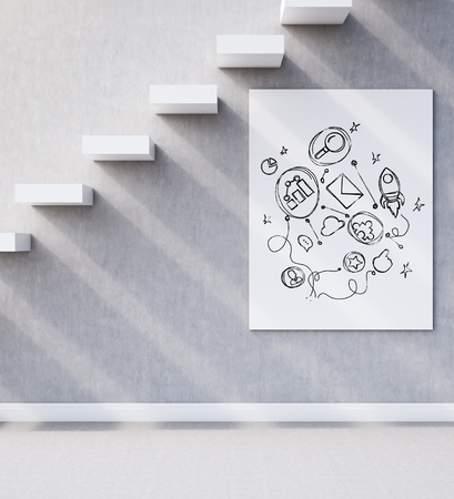 concrete stairs: Side view of wall with concrete stairs and startup sketch on poster under it. Concept of successful business. 3d rendering