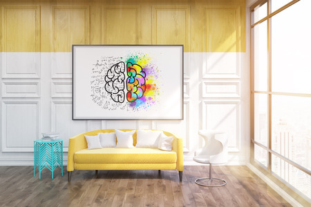 accommodation: Whiteboard with sketch of brain on it. Blue coffe table in corner. Large yellow sofa by its side. Concept of comfortable accommodation. 3d rendering. Toned image.