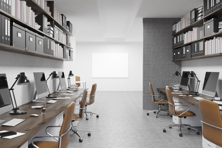 big boxes: Empty office in big company. Wooden desks with chairs, workstations, boxes and binders. Concept of firm working well. 3d rendering. Mock up