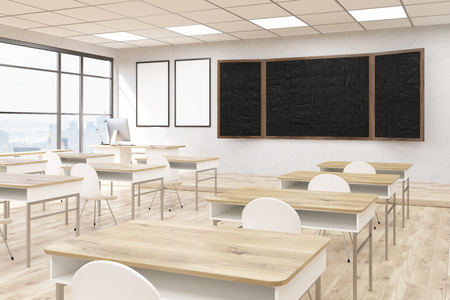 obtaining: Business University classroom interior. Blackboard and posters on wall, wooden desks and plastic chairs. Concept of obtaining knowledge. Back to school. 3d rendering. Mock up