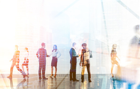 negotiations: Groups of colleagues meeting each other in busy office lobby. Concept of business negotiations. 3d rendering. Toned image. Double exposure. Stock Photo
