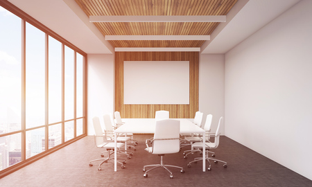 panoramic business: Conference room interior front view. Large table. Panoramic window. Concept of business negotiation. 3d rendering. Mock up. Toned image. Stock Photo
