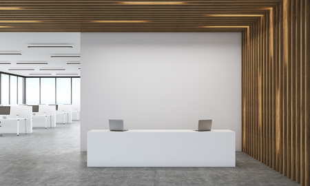 reception desk: Office interior of accounting company with reception desk and large room. Concept of modern financial firm. 3d rendering. Mock up