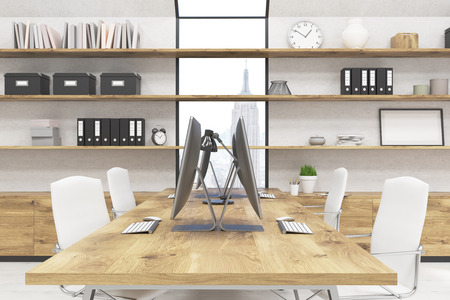 window case: Office room. Computers on big desk. Boxes, books and clocks on shelves. Window facing at New York. Concept of comfortable working atmosphere. 3d rendering. Mock up Stock Photo