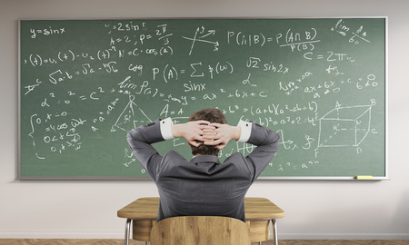 exact: Man in suit sitting his back to camera looking at chalkboard with formulas. Concept of exact science. Back to school. 3d rendering.
