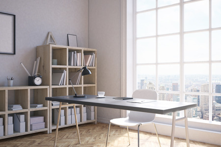 picturesque: Home office corner interior in modern New York City. Shelves by wall, wooden writing table, white chair. Large window with picturesque view. Concept of working at home. 3d rendering. Mock up.